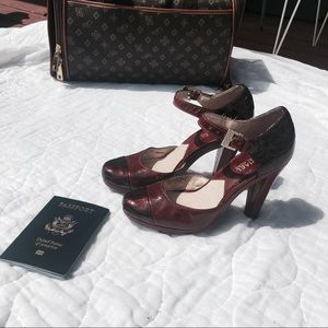 Michael Kors Red Wine Platform Closed Toe Heels